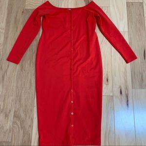 ASOS Maternity Red 3/4 Sleeve Sheath Dress